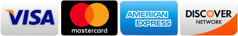 Major credit cards visa, mastercard, american express, and discover